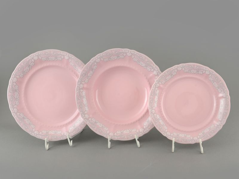Фото Набор тарелок 18 предметов с десертной тарелкой 19 см Форма Соната Серый орнамент - Розовый фарфор