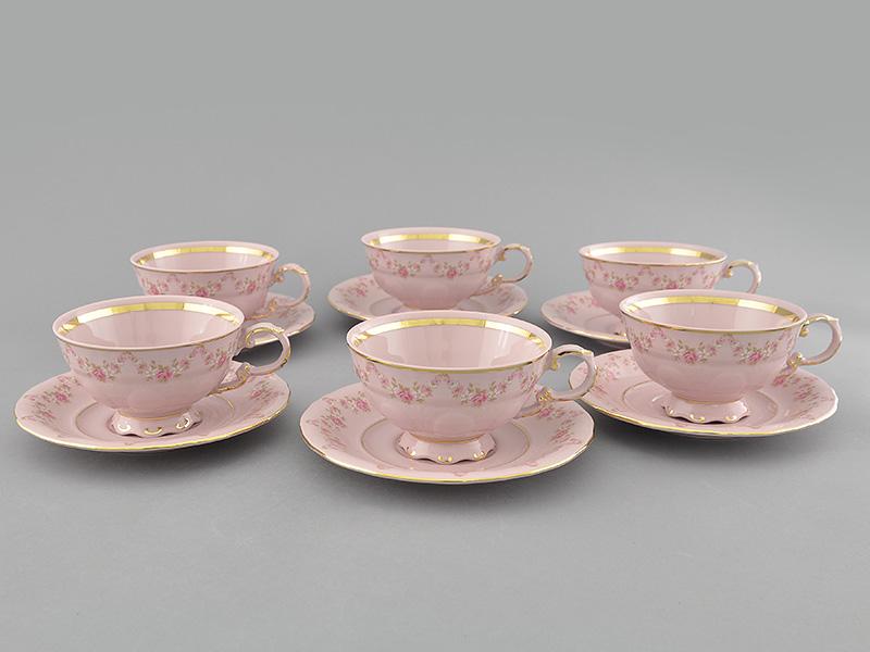 Фото Набор чашек низких с блюдцем 200 мл, 6 шт Форма Соната Розовый бордюр - Розовый фарфор