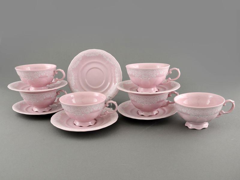 Фото Набор чашек низких с блюдцем 200 мл, 6 шт Форма Соната Белый орнамент - Розовый фарфор