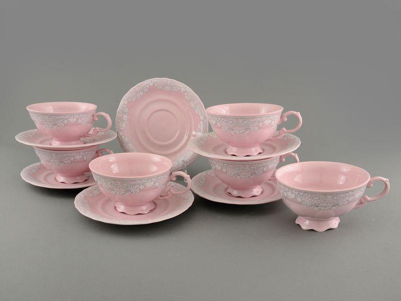 Фото Набор чашек низких с блюдцем 200 мл, 6 шт Форма Соната Серый орнамент - Розовый фарфор