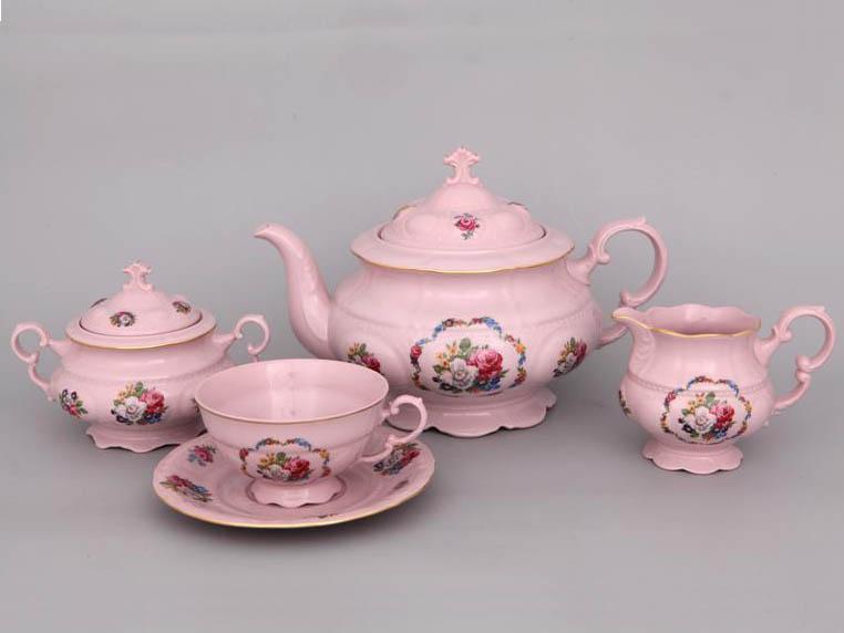 Фото Сервиз чайный Леандер 15 предметов на 6 персон Форма Соната Вальс цветов - Розовый фарфор
