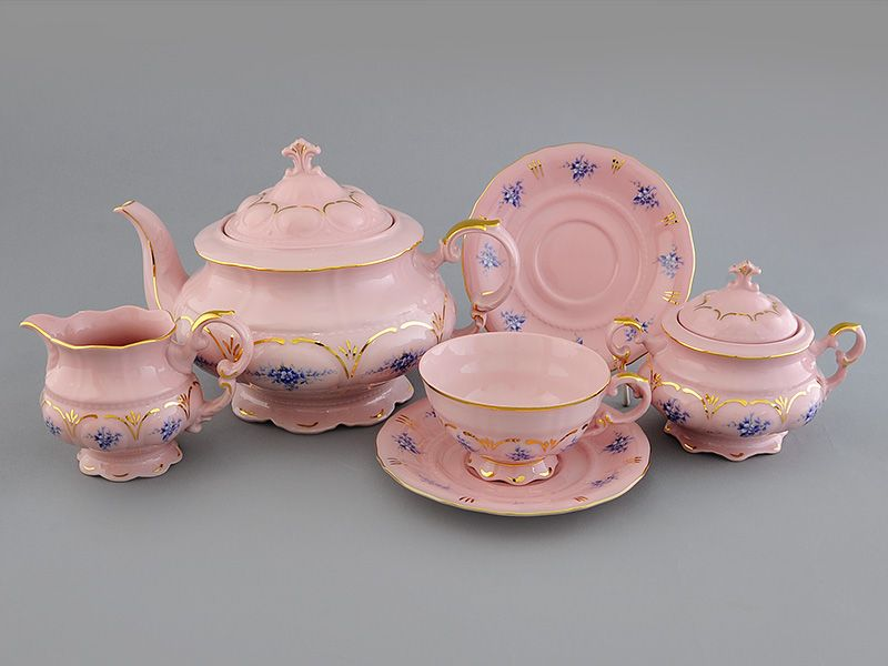 Фото Сервиз чайный Леандер 15 предметов на 6 персон Форма Соната Розмарин - Розовый фарфор