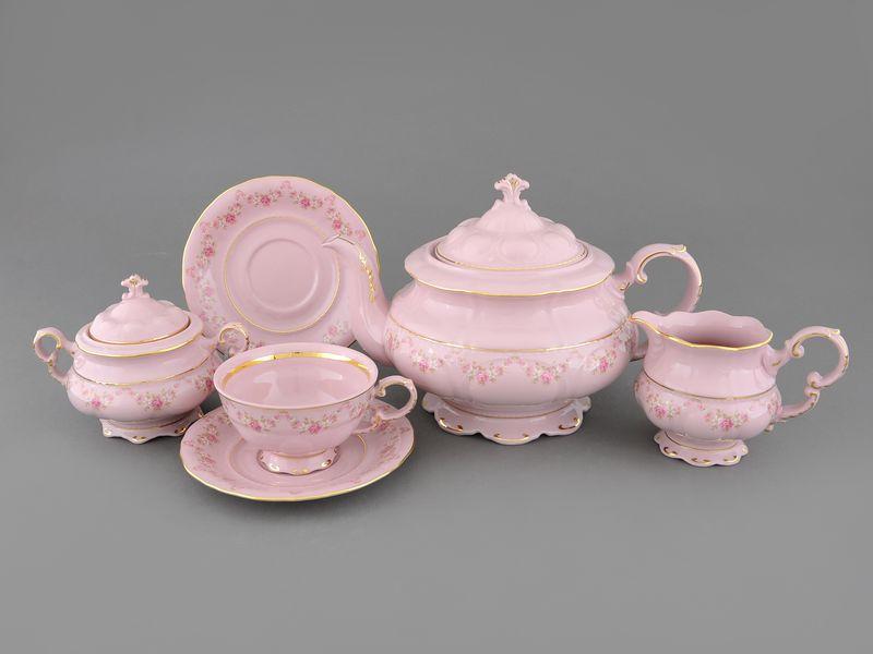 Фото Сервиз чайный Леандер 15 предметов на 6 персон Форма Соната Розовый бордюр - Розовый фарфор