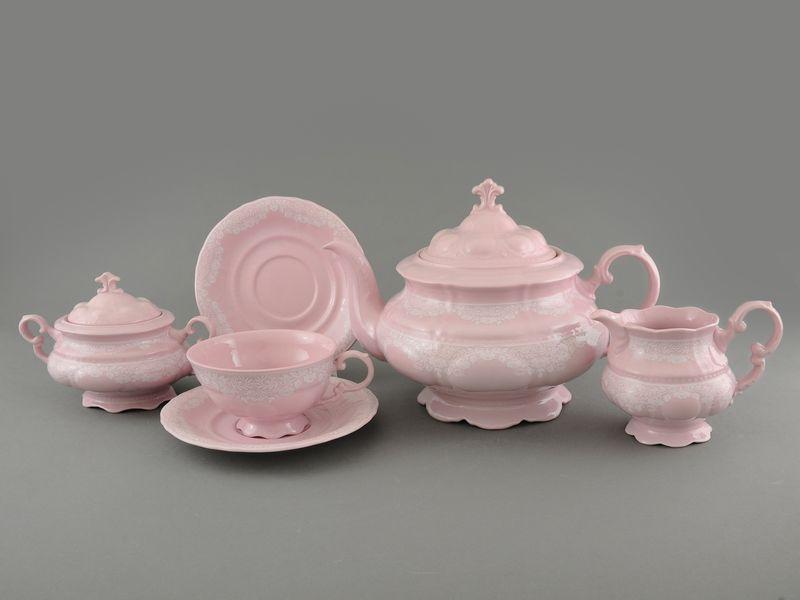 Фото Сервиз чайный Леандер 15 предметов на 6 персон Форма Соната Белый орнамент - Розовый фарфор