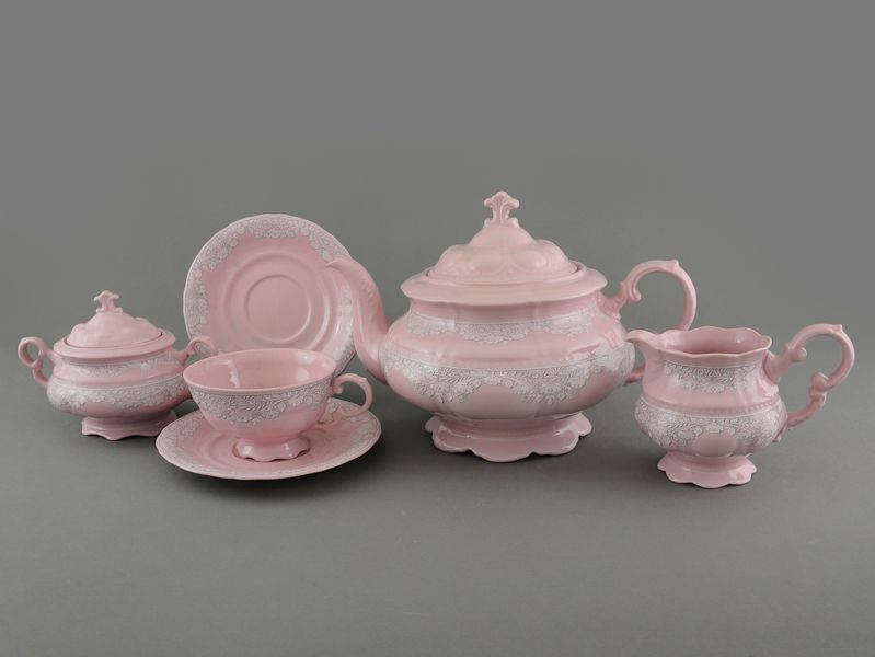 Фото Сервиз чайный Леандер 15 предметов на 6 персон Форма Соната Серый орнамент - Розовый фарфор