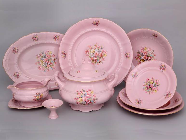 Фото Сервиз столовый Леандер 25 предметов на 6 персон, Форма Соната Букетик - Розовый фарфор
