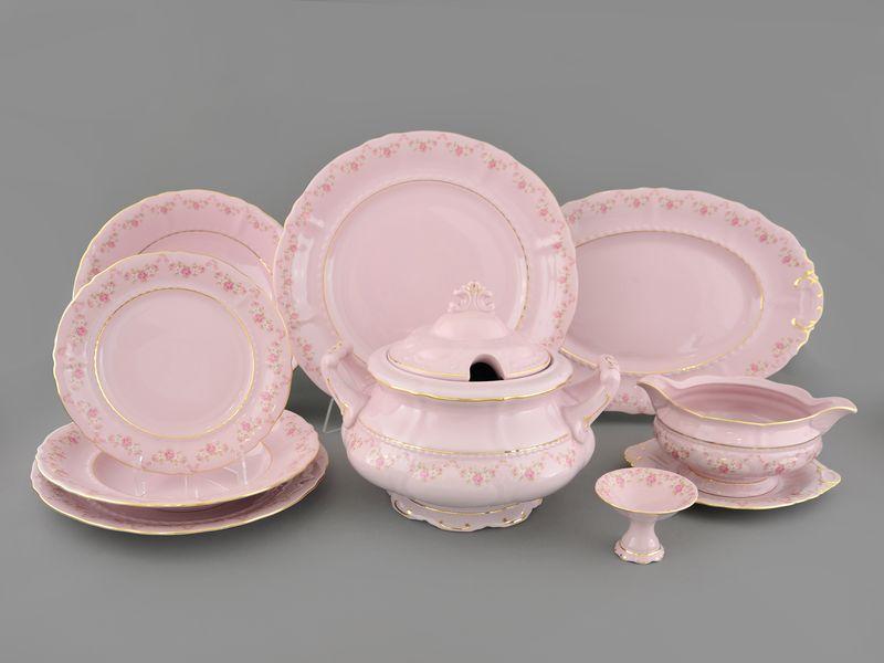 Фото Сервиз столовый Леандер 25 предметов на 6 персон, Форма Соната Розовый бордюр - Розовый фарфор