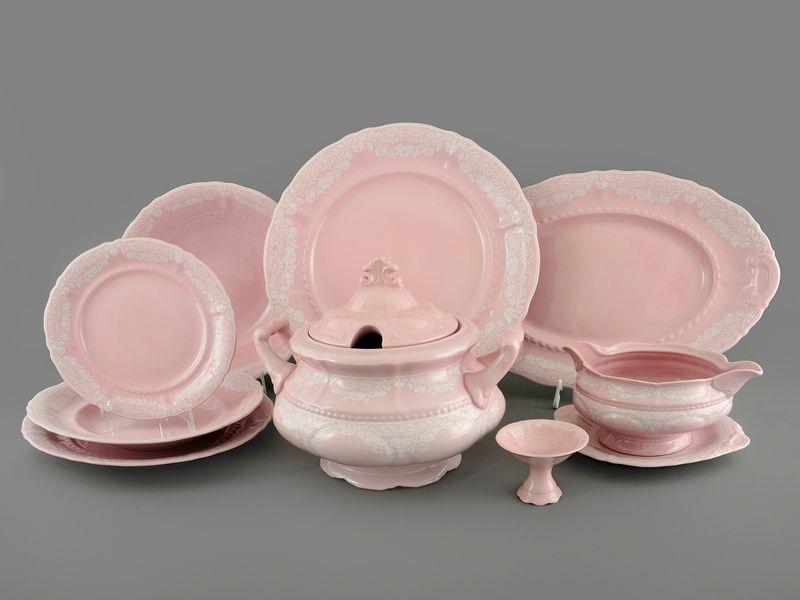 Фото Сервиз столовый Леандер 25 предметов на 6 персон, Форма Соната Белый орнамент - Розовый фарфор