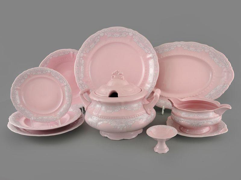 Фото Сервиз столовый Леандер 25 предметов на 6 персон, Форма Соната Серый орнамент - Розовый фарфор