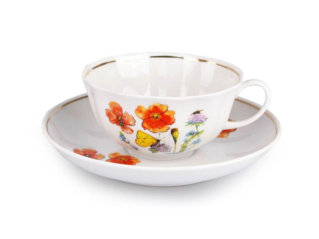 Фото Сервиз чайный Дулево Тюльпан Цветущий луг, 15 предметов
