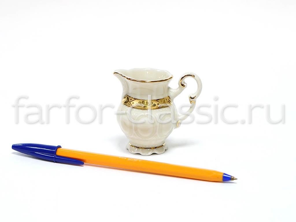 Фото Молочник Леандер высокий 50 мл, Форма Соната Белиссима золото - Слоновая кость