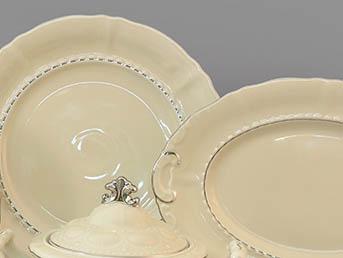 Фото Салатник круглый 20 см Форма Соната Платиновый контур - Слоновая кость