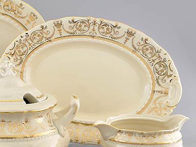 Фото Блюдо овальное Леандер 23 см Форма Соната Королевский золотой - Слоновая кость