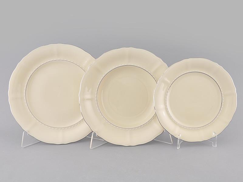Фото Набор тарелок 18 предметов на 6 персон, Форма Соната Платиновый контур - Слоновая кость