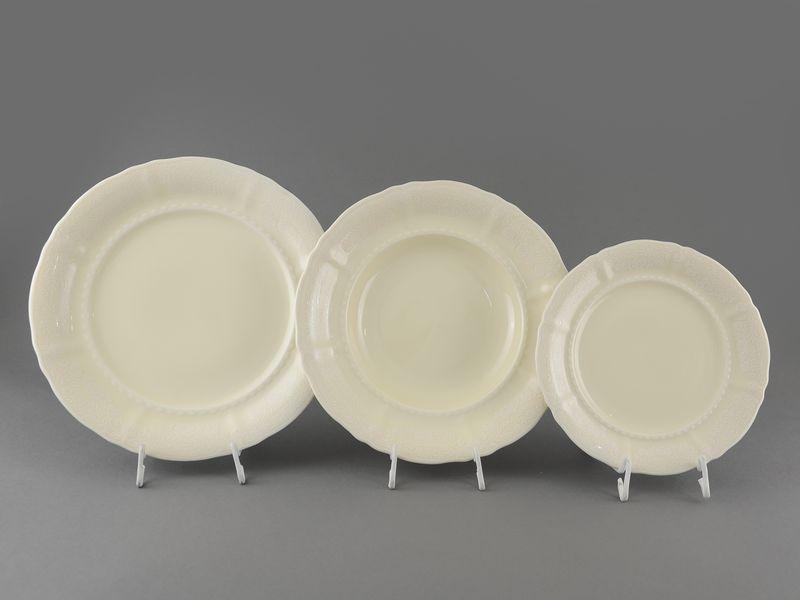 Фото Набор тарелок 18 предметов с десертной тарелкой 19 см Форма Соната Белый орнамент - Слоновая кость