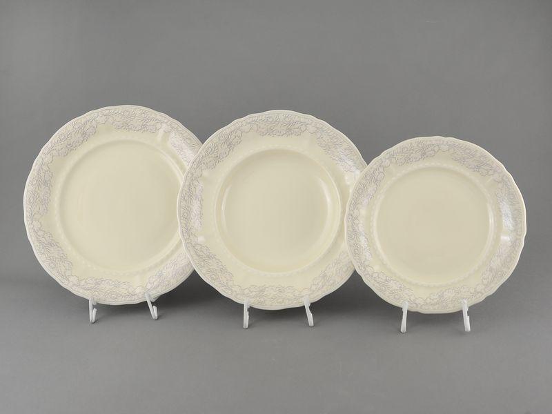 Фото Набор тарелок 18 предметов с десертной тарелкой 19 см Форма Соната Серый орнамент - Слоновая кость