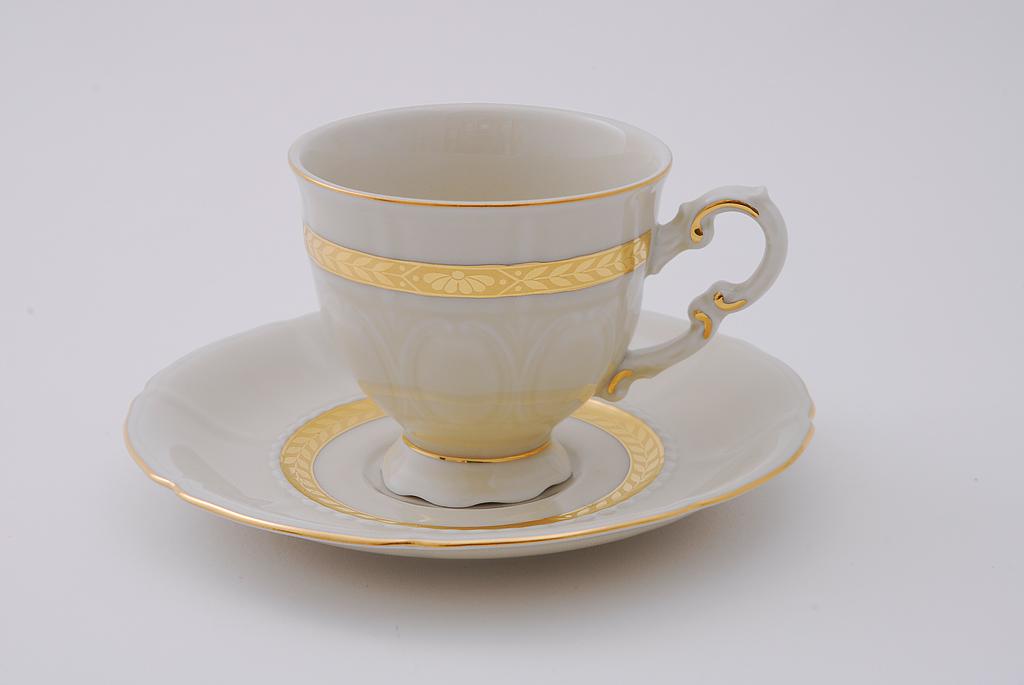 Фото Набор чашек кофейных с блюдцем 150 мл, 6 шт Форма Соната Белиссима золото - Слоновая кость