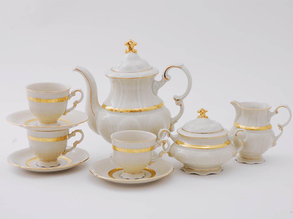 Фото Сервиз кофейный Леандер 15 предметов на 6 персон Форма Соната Белиссима золото, слоновая кость