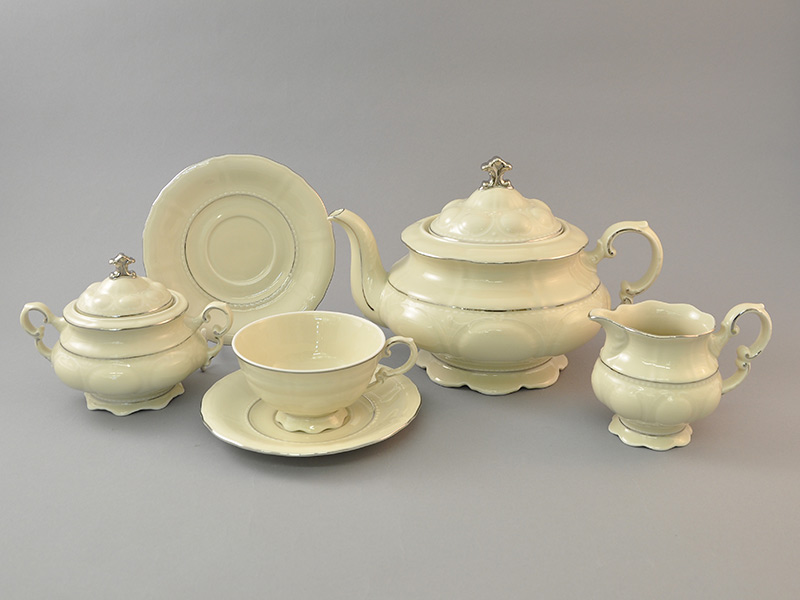 Фото Сервиз чайный Леандер 15 предметов на 6 персон, слоновая кость Форма Соната Платиновый контур - Слоновая кость