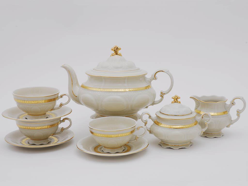 Фото Сервиз чайный Леандер 15 предметов на 6 персон Форма Соната Белиссима золото, слоновая кость