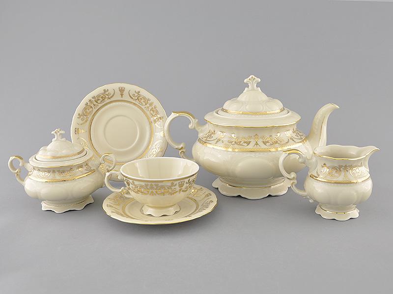 Фото Сервиз чайный Леандер 15 предметов на 6 персон Форма Соната Королевский золотой, слоновая кость