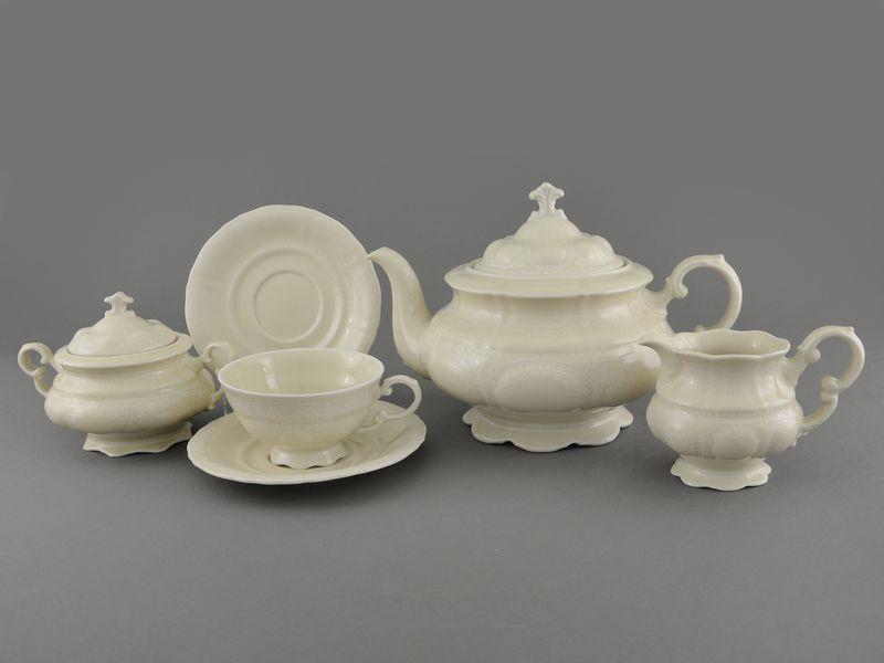 Фото Сервиз чайный Леандер 15 предметов на 6 персон Форма Соната Белый орнамент - Слоновая кость