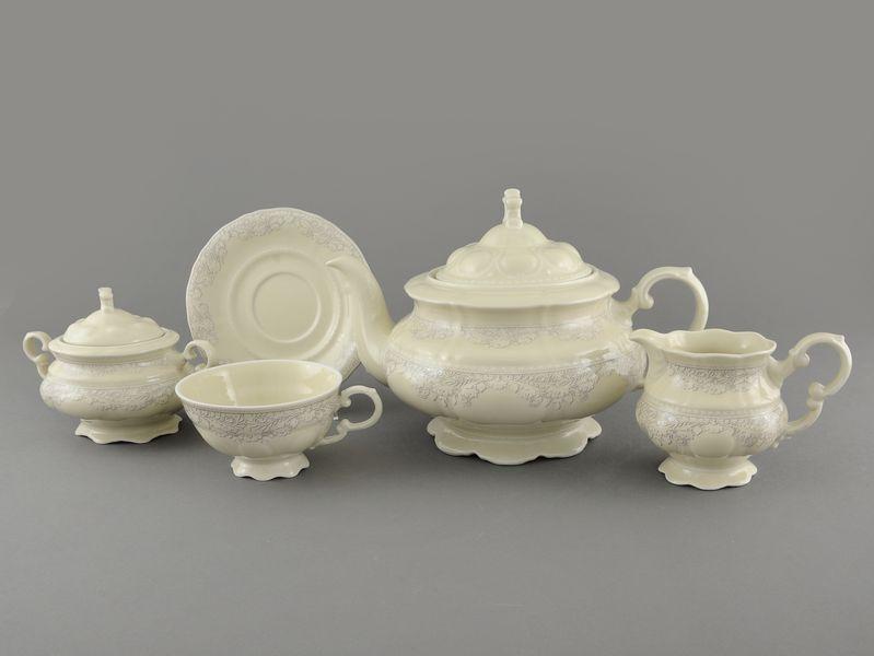 Фото Сервиз чайный Леандер 15 предметов на 6 персон Форма Соната Серый орнамент - Слоновая кость