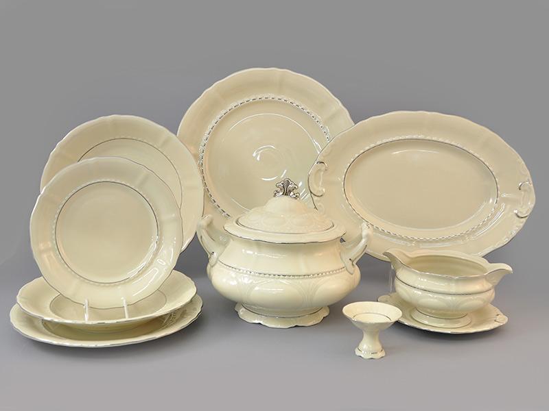 Фото Сервиз столовый Леандер 25 предметов на 6 персон, Форма Соната Платиновый контур - Слоновая кость