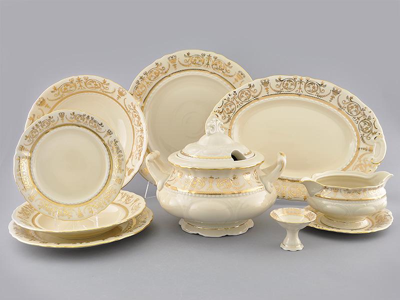 Фото Сервиз столовый Леандер 25 предметов на 6 персон, Форма Соната Королевский золотой - Слоновая кость