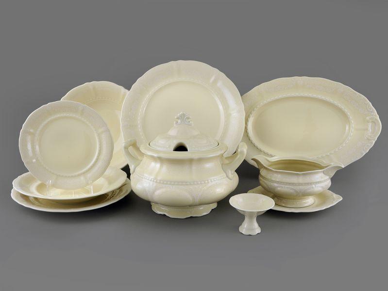 Фото Сервиз столовый Леандер 25 предметов на 6 персон, Форма Соната Белый орнамент - Слоновая кость