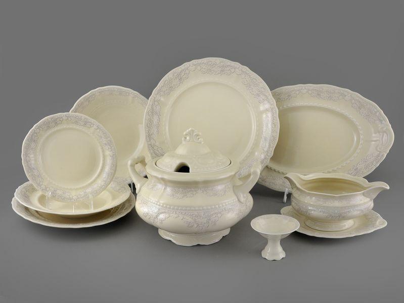Фото Сервиз столовый Леандер 25 предметов на 6 персон, Форма Соната Серый орнамент - Слоновая кость