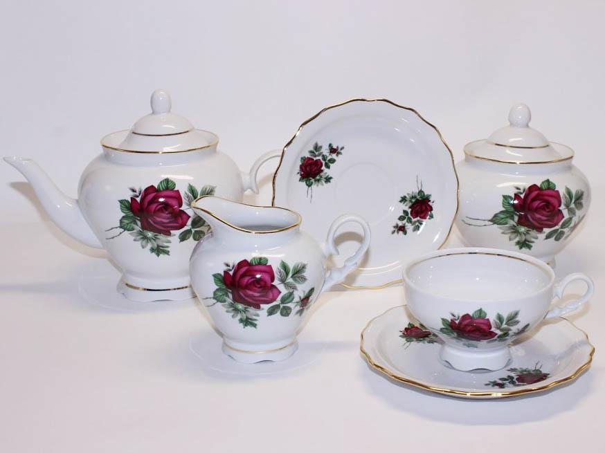 Фото Сервиз чайный Дулево Агат Пурпурная роза, 15 предметов