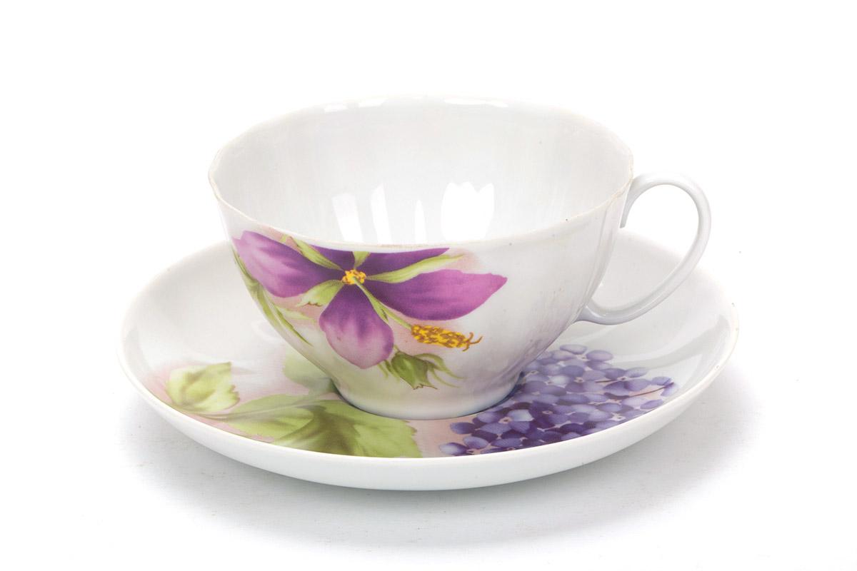 Фото Чашка чайная с блюдцем 230 мл Белый лебедь Альпийские цветы 2с