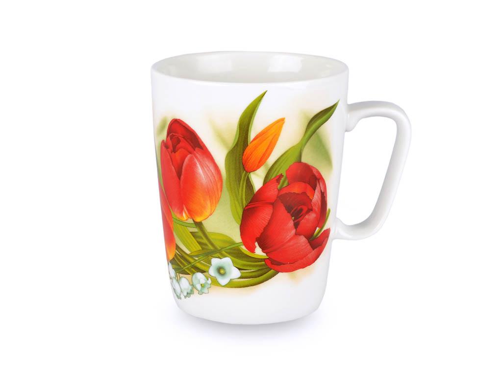 Фото Кружка 300 мл Конус Красные тюльпаны