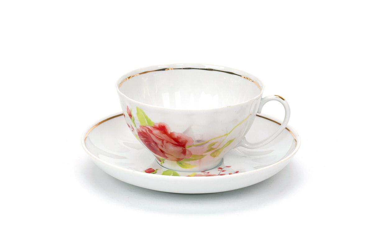Фото Чашка чайная с блюдцем 230 мл Белый лебедь Красные цветы