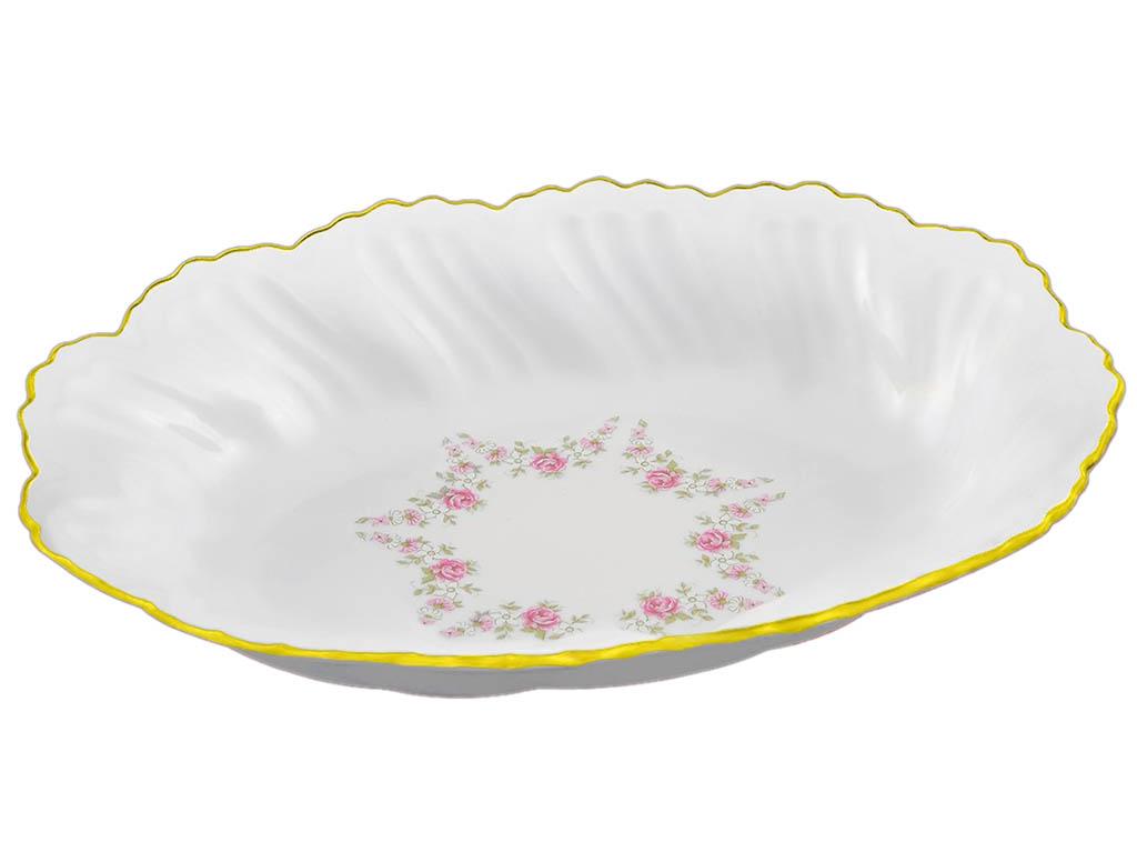 Фото Блюдо овальное глубокое 18,5 см Форма Фелиция Розовый бордюр