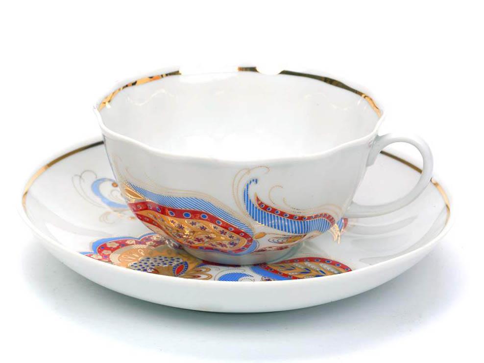 Фото Чашка чайная с блюдцем 200 мл Тюльпан Перо Жар-птицы