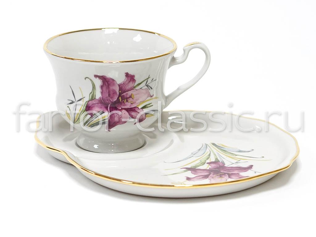 Фото Чашка чайная с блюдцем 270 мл Весенний Лилия