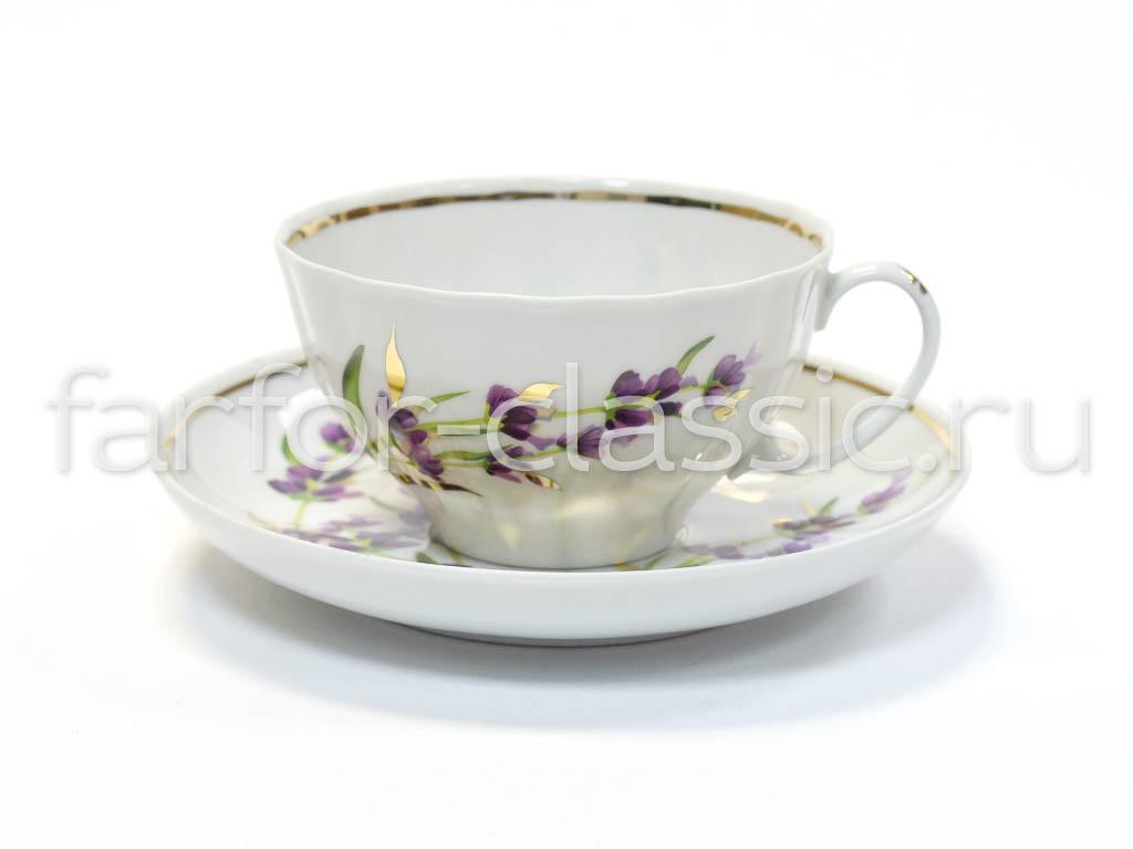 Фото Сервиз чайный Дулево Белый лебедь Лаванда, 21 предмет