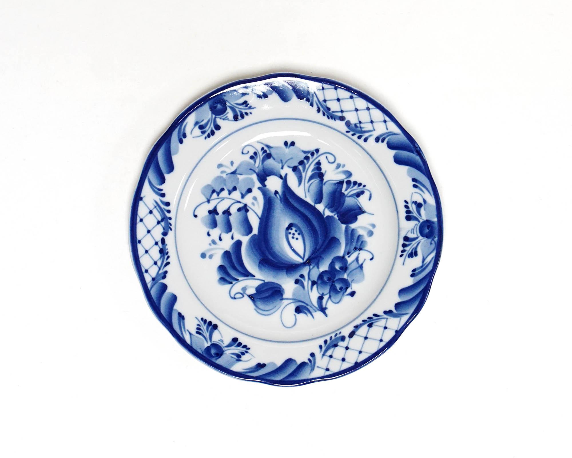 Фото Набор тарелок мелких Гжель Вырезной край Тюльпан, 175 мм - 6 шт