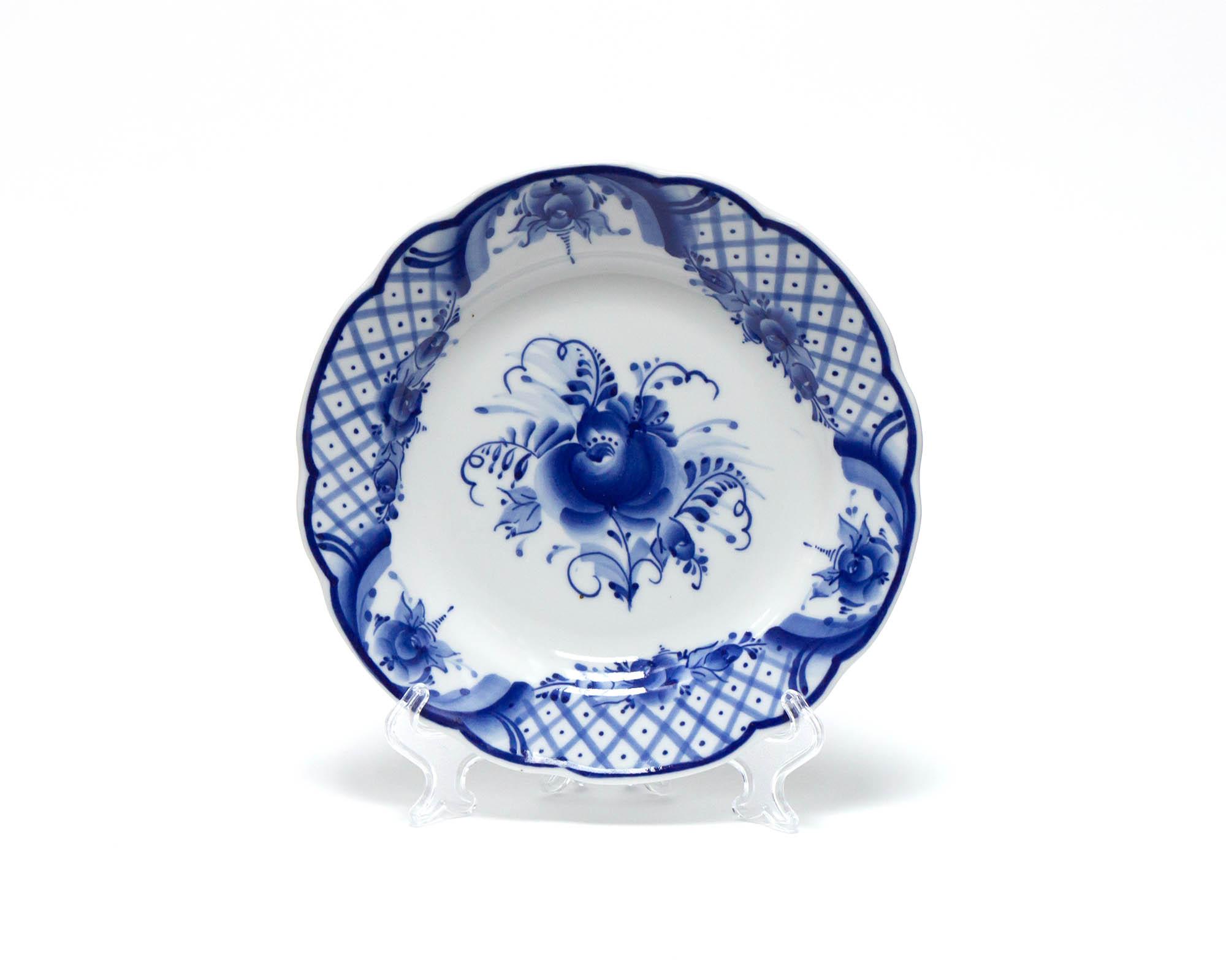 Фото Набор тарелок мелких Гжель Вырезной край Торжественный, 175 мм - 6 шт
