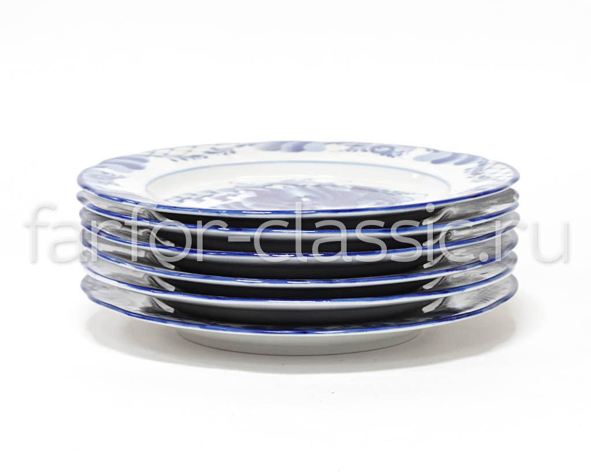 Фото Набор тарелок мелких Гжель Вырезной край Тюльпан, 200 мм - 6 шт
