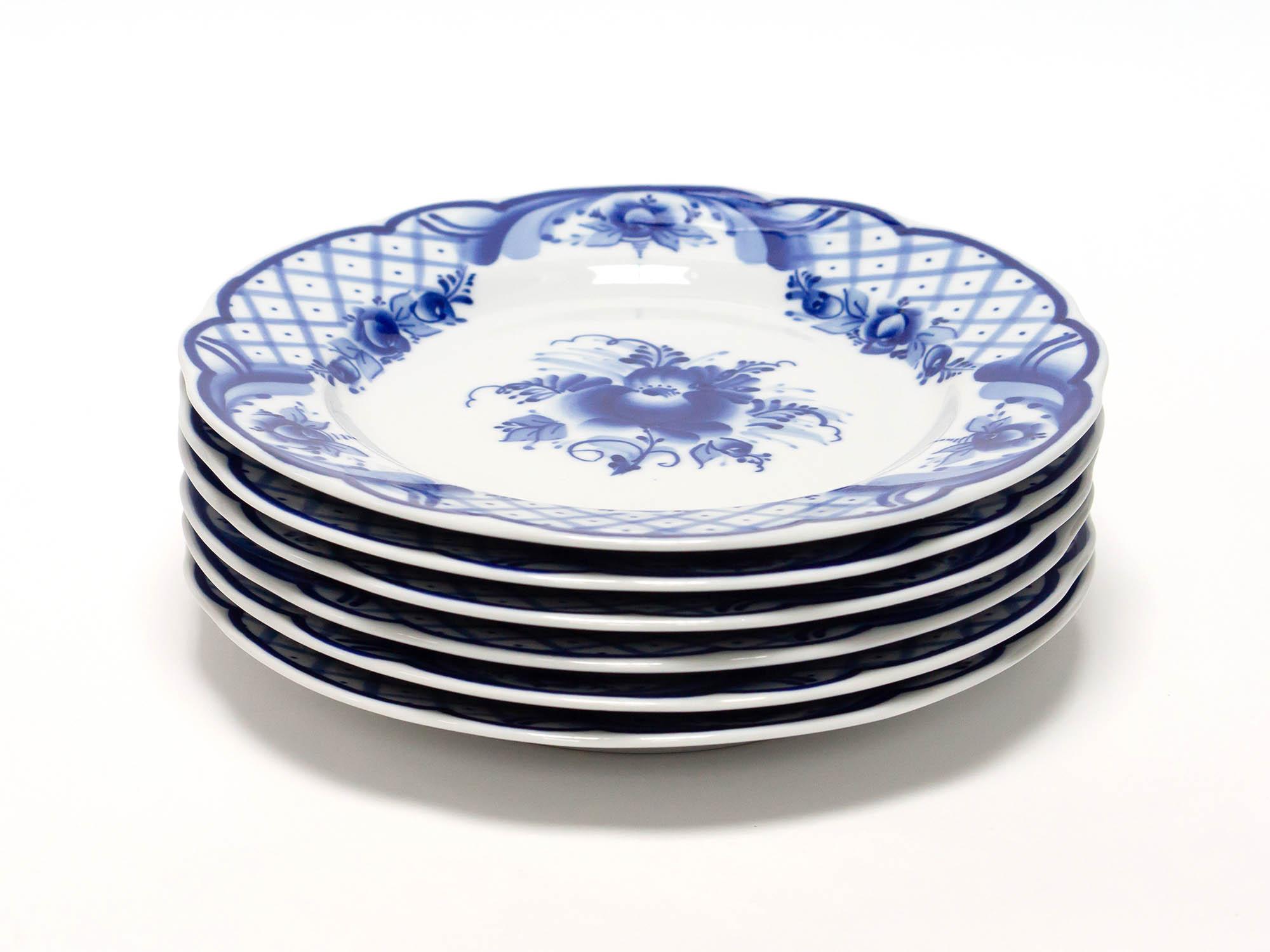 Фото Набор тарелок мелких Гжель Вырезной край Торжественный, 200 мм - 6 шт