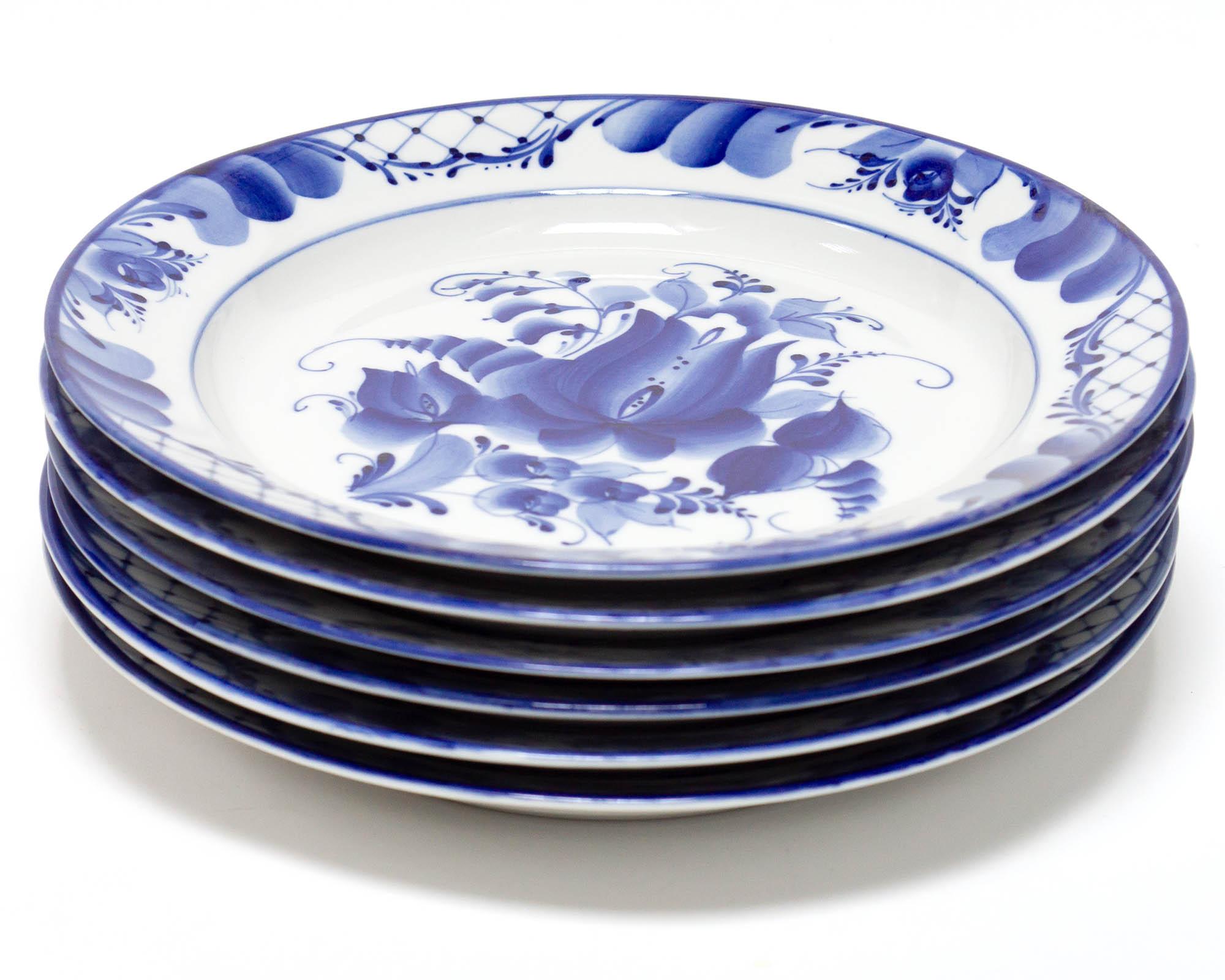 Фото Набор тарелок мелких Гжель Гладкий край Тюльпан, 240 мм - 6 шт