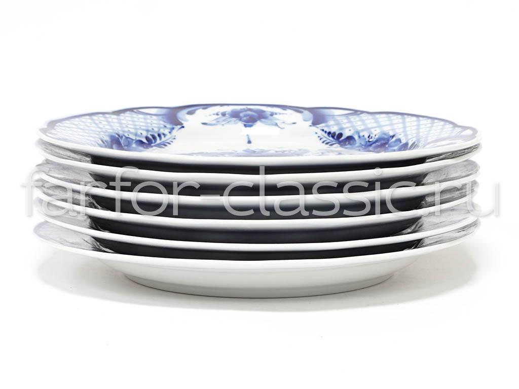 Фото Набор тарелок мелких Гжель Вырезной край Торжественный, 240 мм - 6 шт