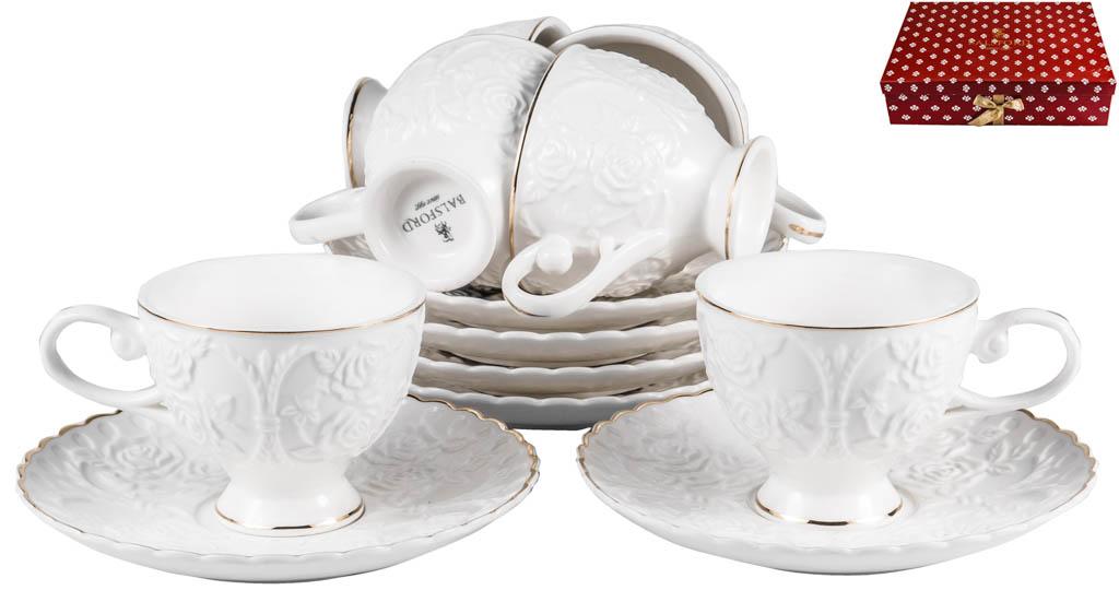 Фото Набор чашек кофейных с блюдцем Balsford Грация Насса 100 мл 6 шт