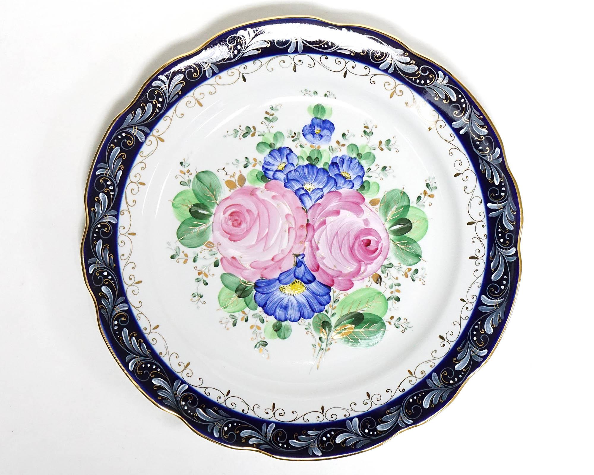 Фото Блюдо круглое 300 мм Вырезной край Художественная роспись