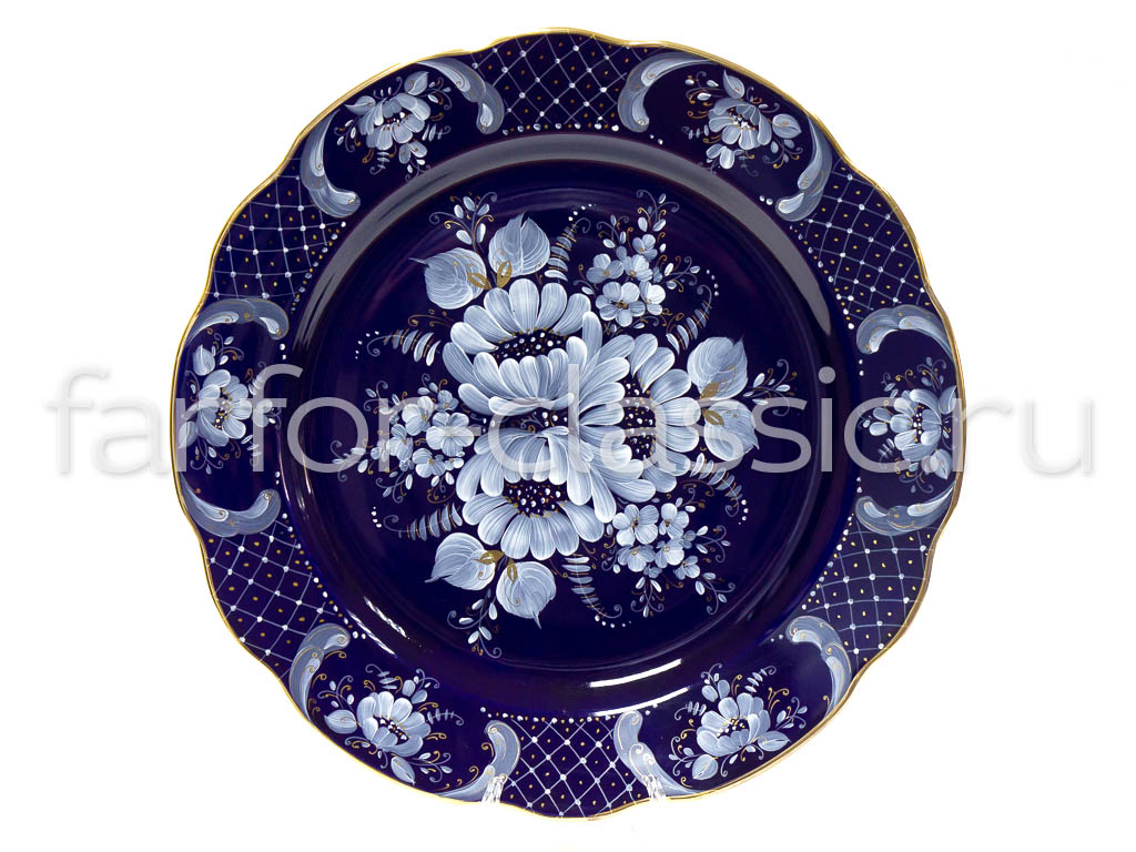 Фото Блюдо круглое Гжель 300 мм Вырезной край Глухой кобальт