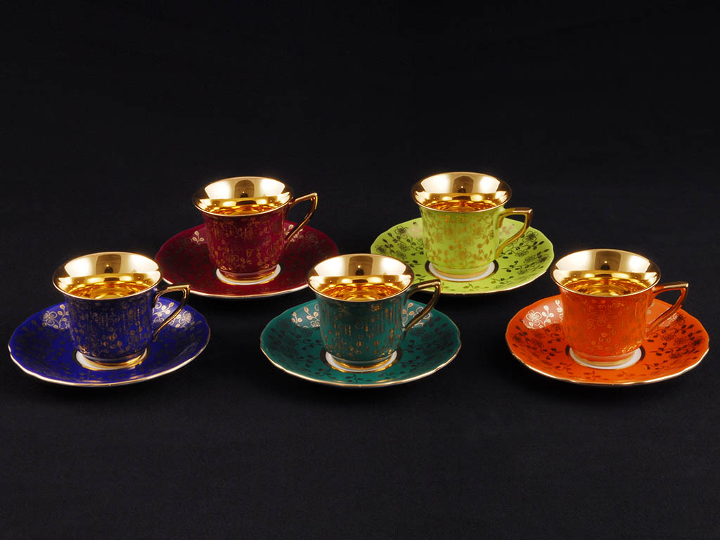 Фото Чашка кофейная с блюдцем 50 мл, Форма Виндзор Золотой цветок