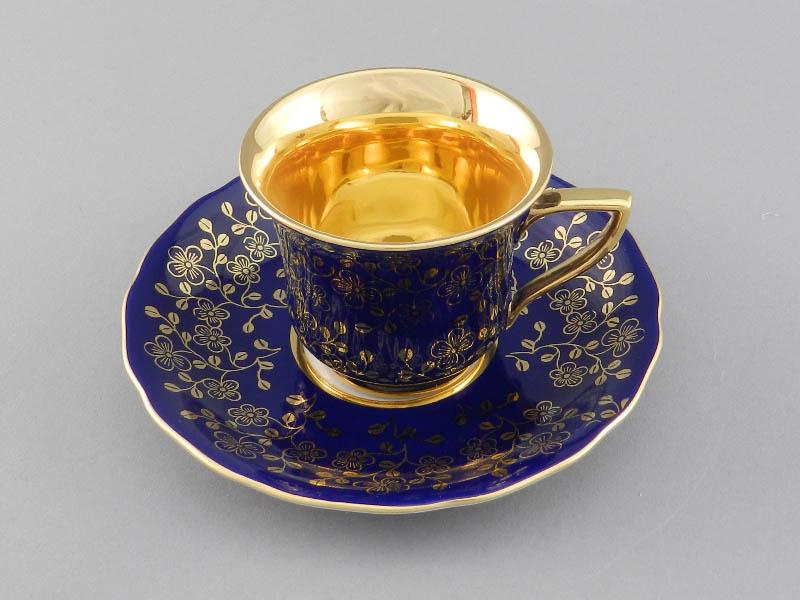 Фото Чашка кофейная с блюдцем 100 мл, Форма Виндзор Сапфировый цветок